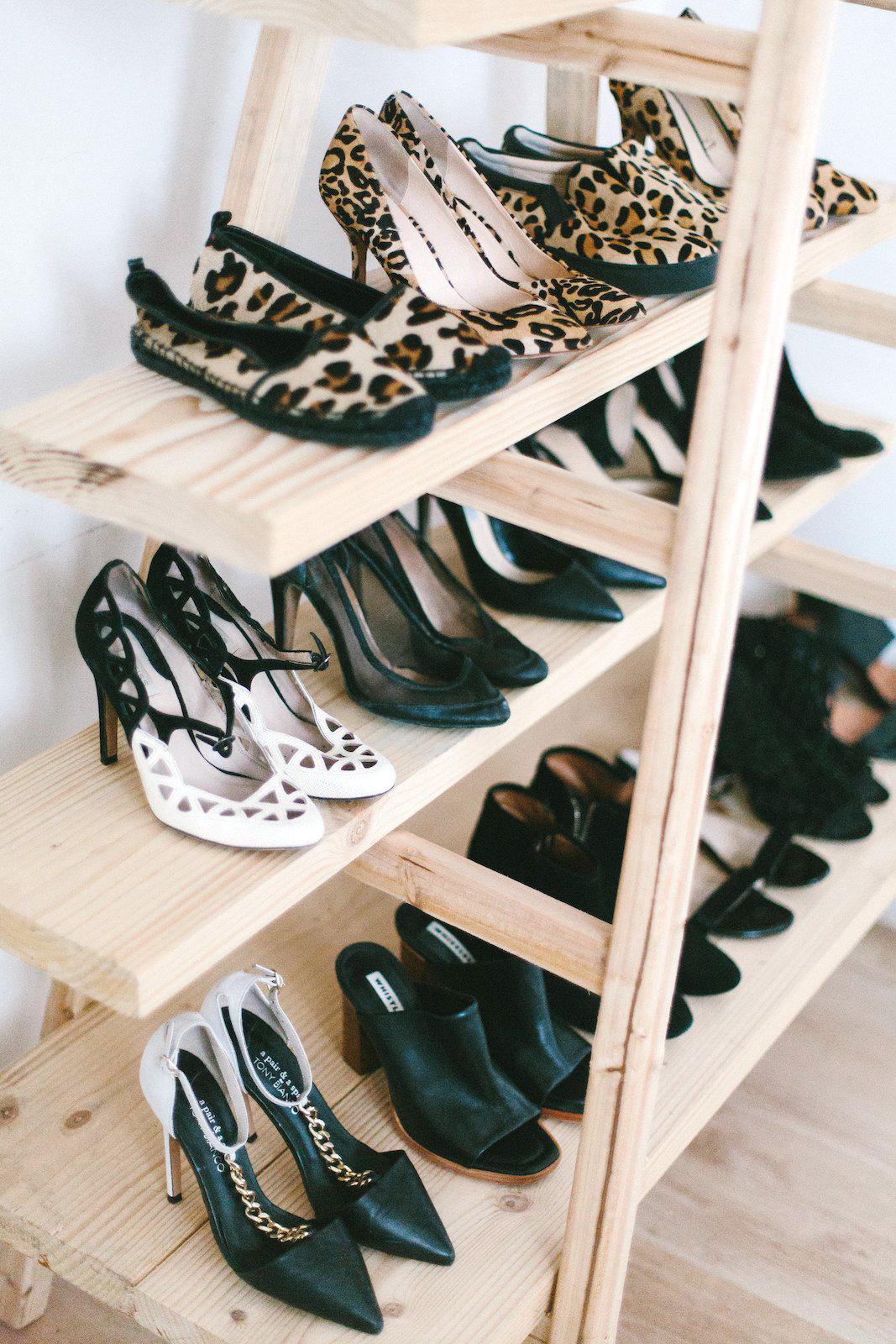 DIY Ladder Shoe Shelf www.apairandasparediy.com - Geneva Vanderzeil apairandasparediy.com