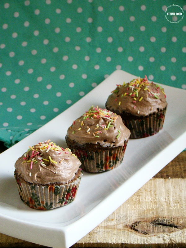 Eggless Microwave Chocolate Muffins with Cocoa Whipped Cream Frosting