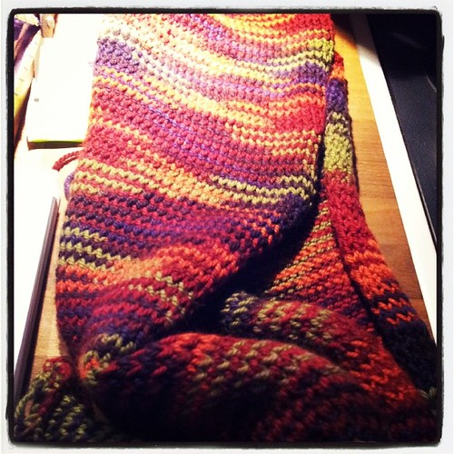 The almost-done scarf. Still need to drop stitches. #knitting