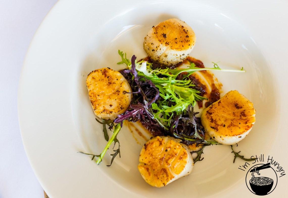 Seared scallops w/sambal chilli paste Flanagan's Dining Room
