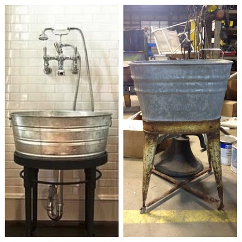 Laundry room sink inspiration on the left: Awesome find at a flea market on the right. Having the wash basin sand blasted to get rid of rust and ready to restore - total cost will be less than $60! #34thStProject
