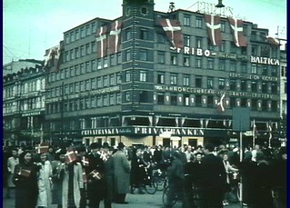 Flags at the central square in Copenhagen. After 5th May 1945.
