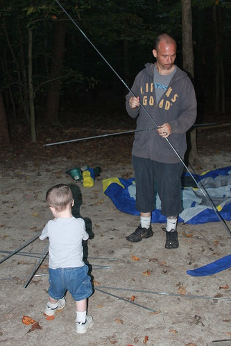 Camping at Prince William Forest Park - Sagan Helps Ryan with Tent Poles
