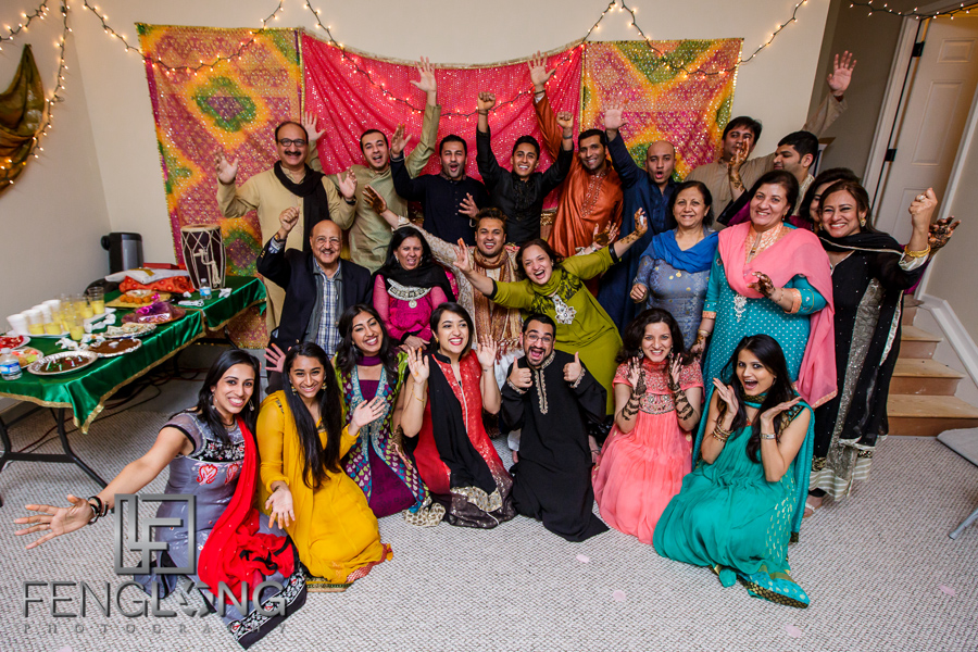 Group photo of Groom's side on Mehndi night