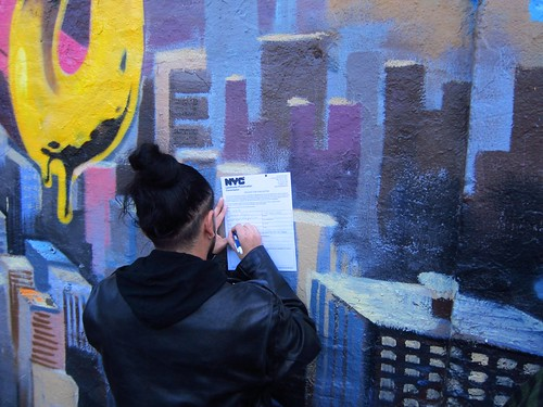 Rally to Save 5 Pointz: Signing Landmark Preservation Commission forms by Scoboco
