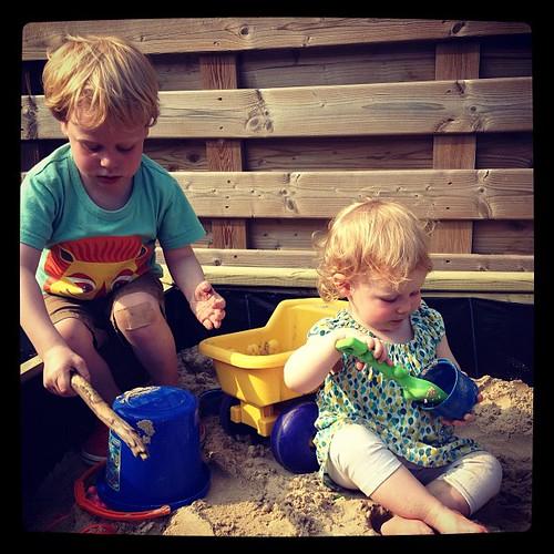Nieuwe zandbak testen