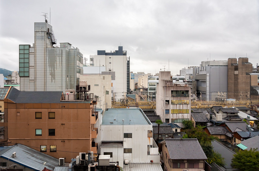 Kyoto cityscape on a rainy day
