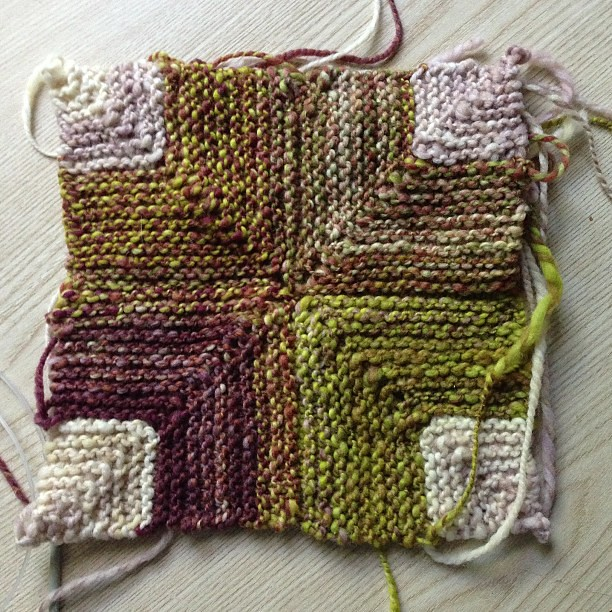 Progress #knitting #handspun #helloyarn #blanket #wip #mitered