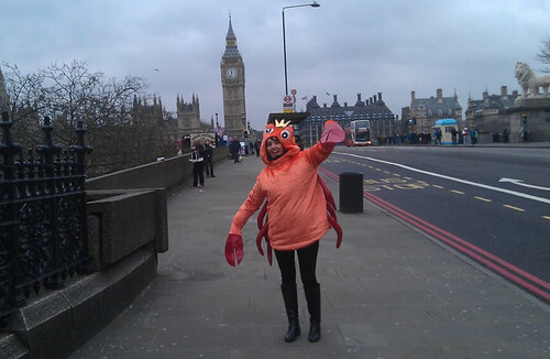 Karli Drinkwater dressed as a crab or the Westminster Fish Fight