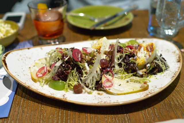 Frog Hollow Pear Salad, Manouri Cheese, Frisee, Black Walnuts, Poached Pear Vinaigrette