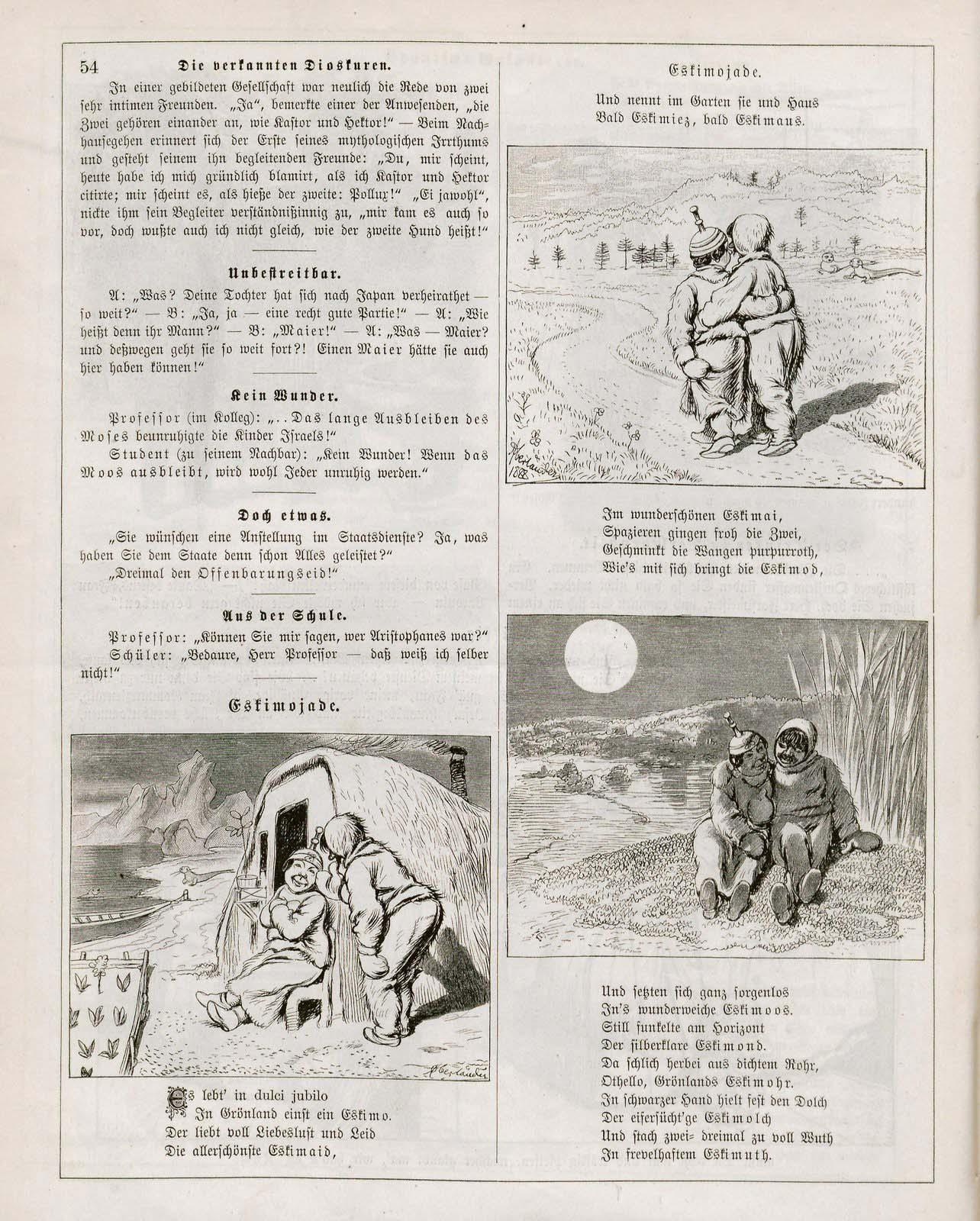 Adolf Oberländer, Eskimojade, Fliegende Blätter 1889, 1