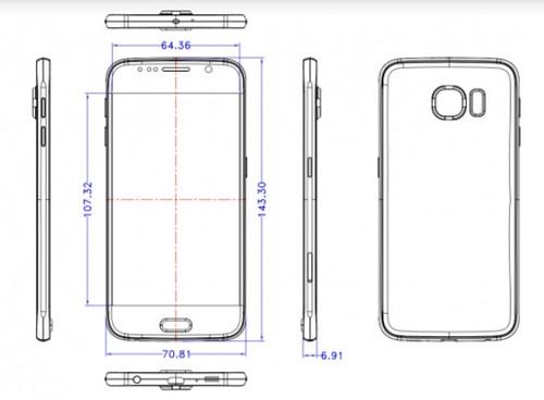 ภาพที่เป็นข่าวลือว่าเป็นร่างสเก็ตช์เครื่อง Samsung Galaxy S6