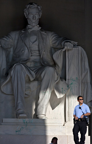 Lincoln Memorial Vandalized: The monument will be closed while National Park Service crews clean up the mess, AP NEWS - WASHINGTON DC, USA (26/07/2013). by Martin G. Conde