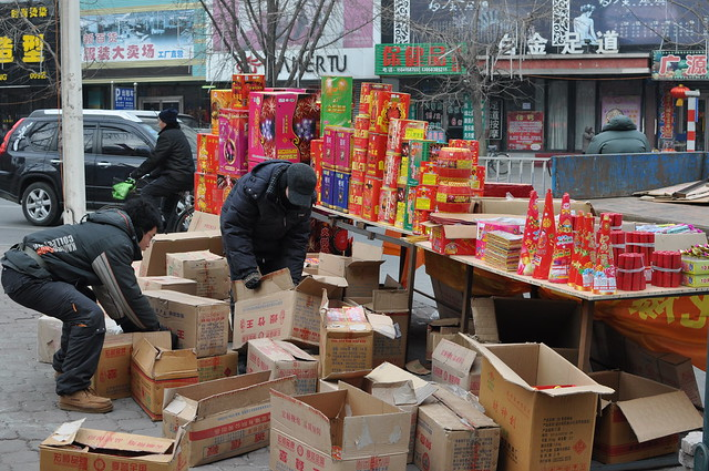 Fire crackers being sold on the street