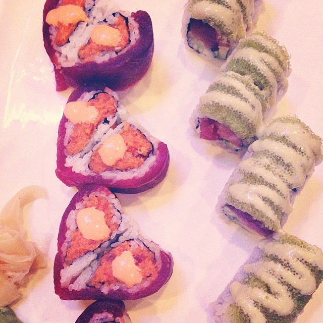 double heart roll, wasabi roll. #sushisaturday