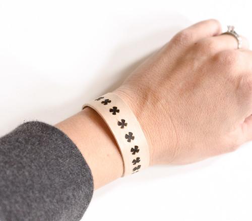 Wood burned bracelet