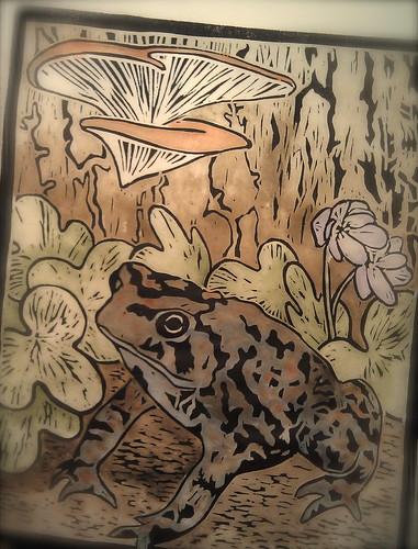 Hepatica and Bufo, woodcut, 8x10 by Goyo P
