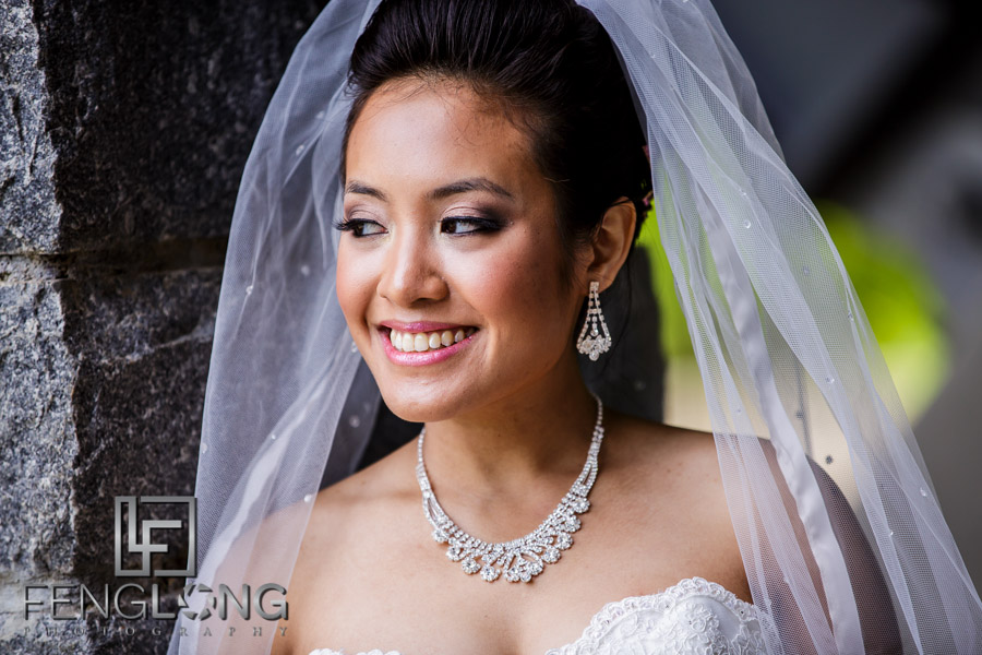 Cambodian bridal portrait in Western wedding dress