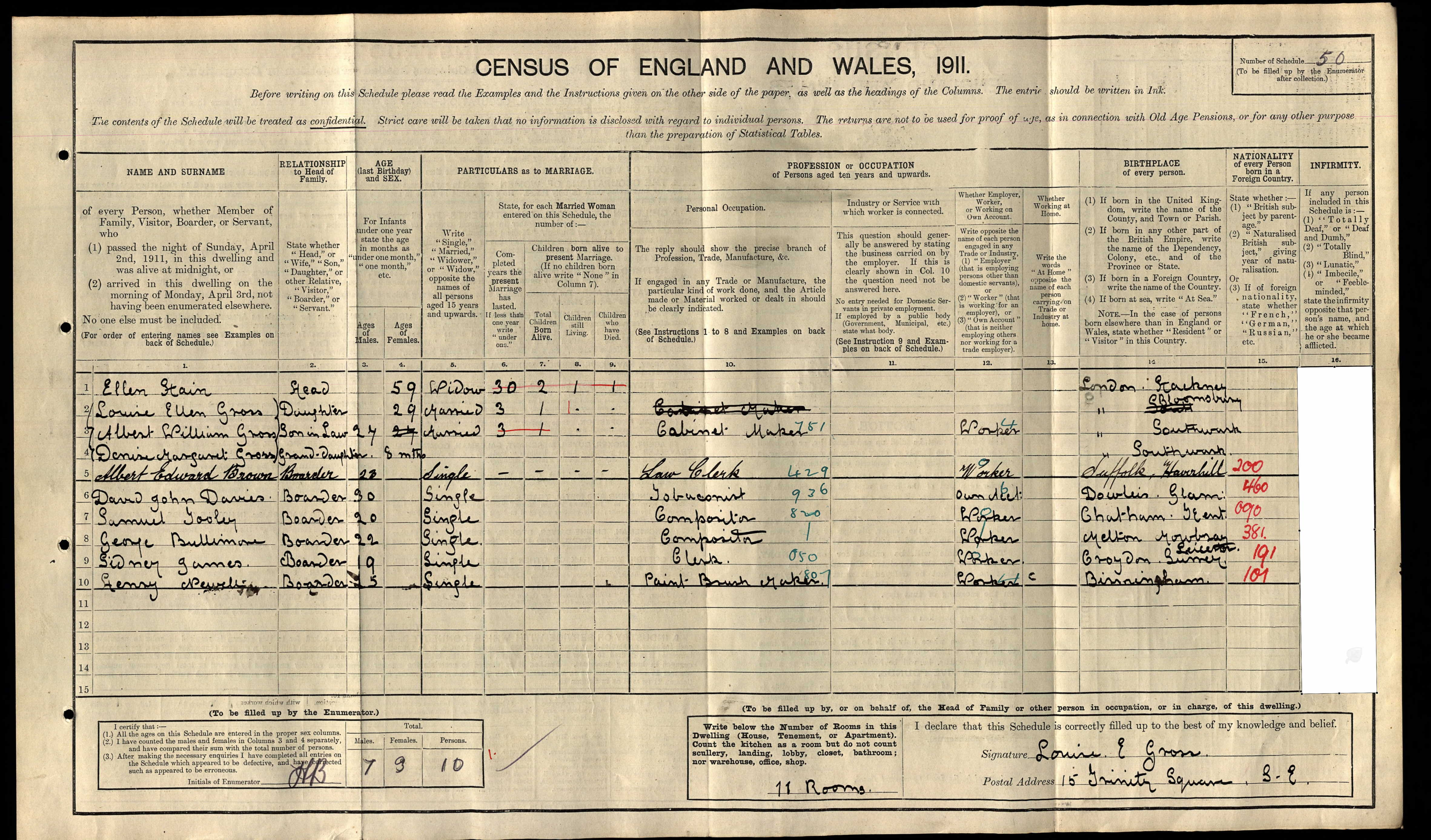 Brown, Albert Edward as a boarder at 15 Trinity Square, Bermondsey