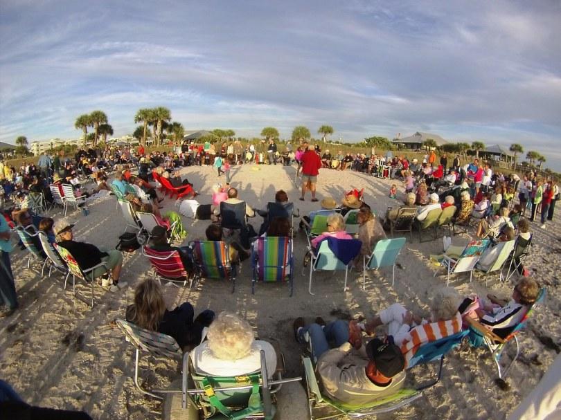 Drum Circle Before Sunset at Englewood Beach, Fla., Jan. 25, 2015