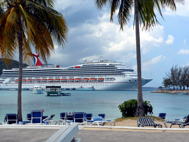 Cruise ship at port in Ocho Rios, Jamaica.