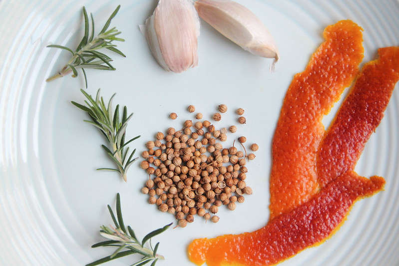 rosemary, garlic, blood orange peel and coriander seeds