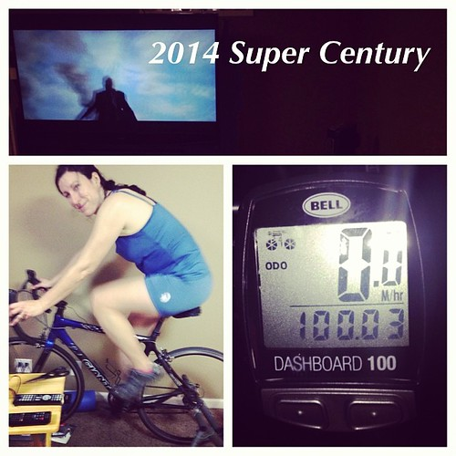 My team's annual #SuperCentury, a Super Bowl day trainer metric century. I stuck it out for a little longer. If my #bike computer was right (questionable), this was my first century on a road bike after two on a hybrid, two on a #cx bike, and one on a #mt
