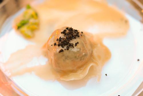 Joel Robuchon truffled langoustine ravioli with chopped cabbage