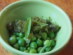 Peas, verbena, frozen nasturtium