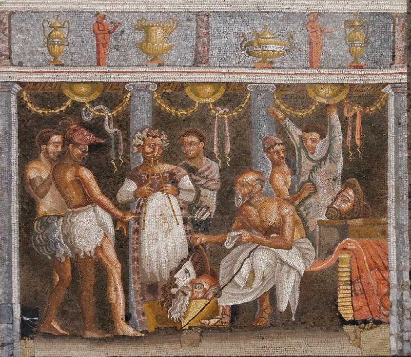 Actores romanos en plena interpretación. Mosaico conservado en el Museo arqueológico nacional de Nápoles