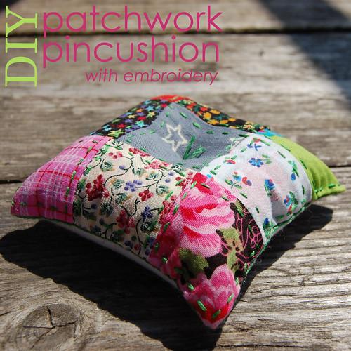 Studio Paars: DIY geborduurd patchwork speldekussentje