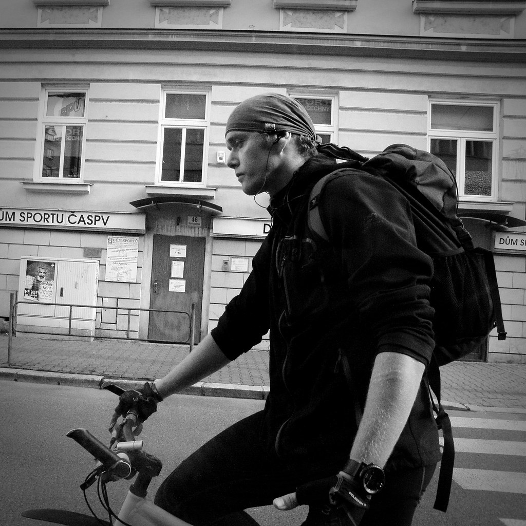 Cyclist Next To the Tram