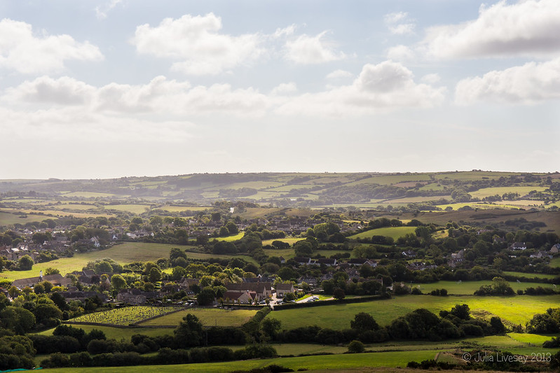 View over the village of Corfe Castle from West Hill