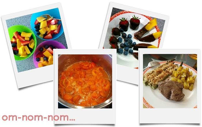 fruchtsalat | marillenmarmelade | erdbeeren mango heidelbeere mit schoko | steak mit spargel und bratkartoffeln