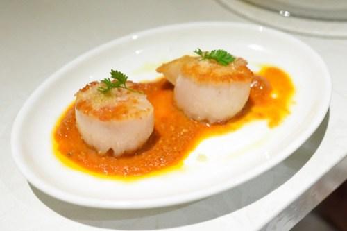 Vieiras Con Salsa De Romesco seared scallops with romesco sauce