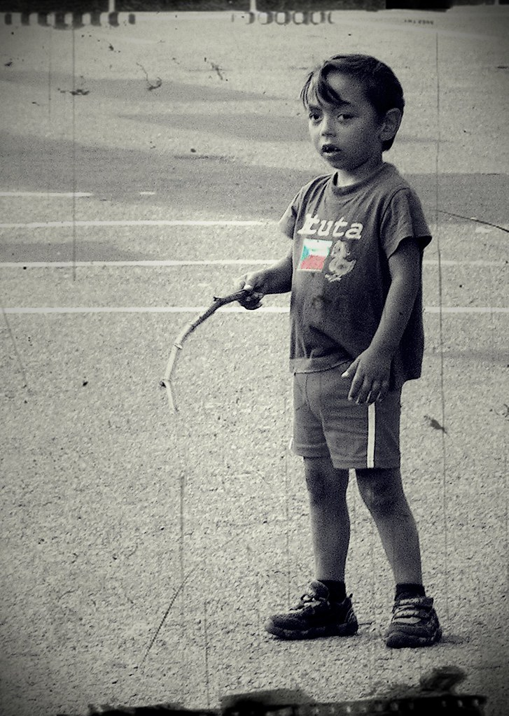 Romany Boy with Stick and Czech National Flag on T-Shirt (processed version)