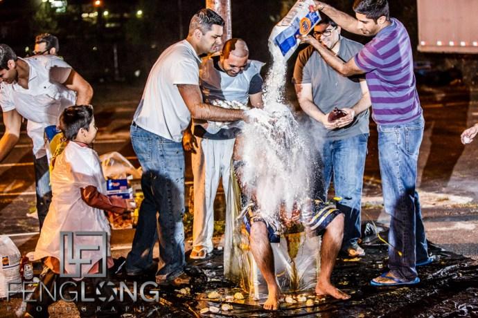 Ismaili groom during messy egg ceremony of Pithi wedding night