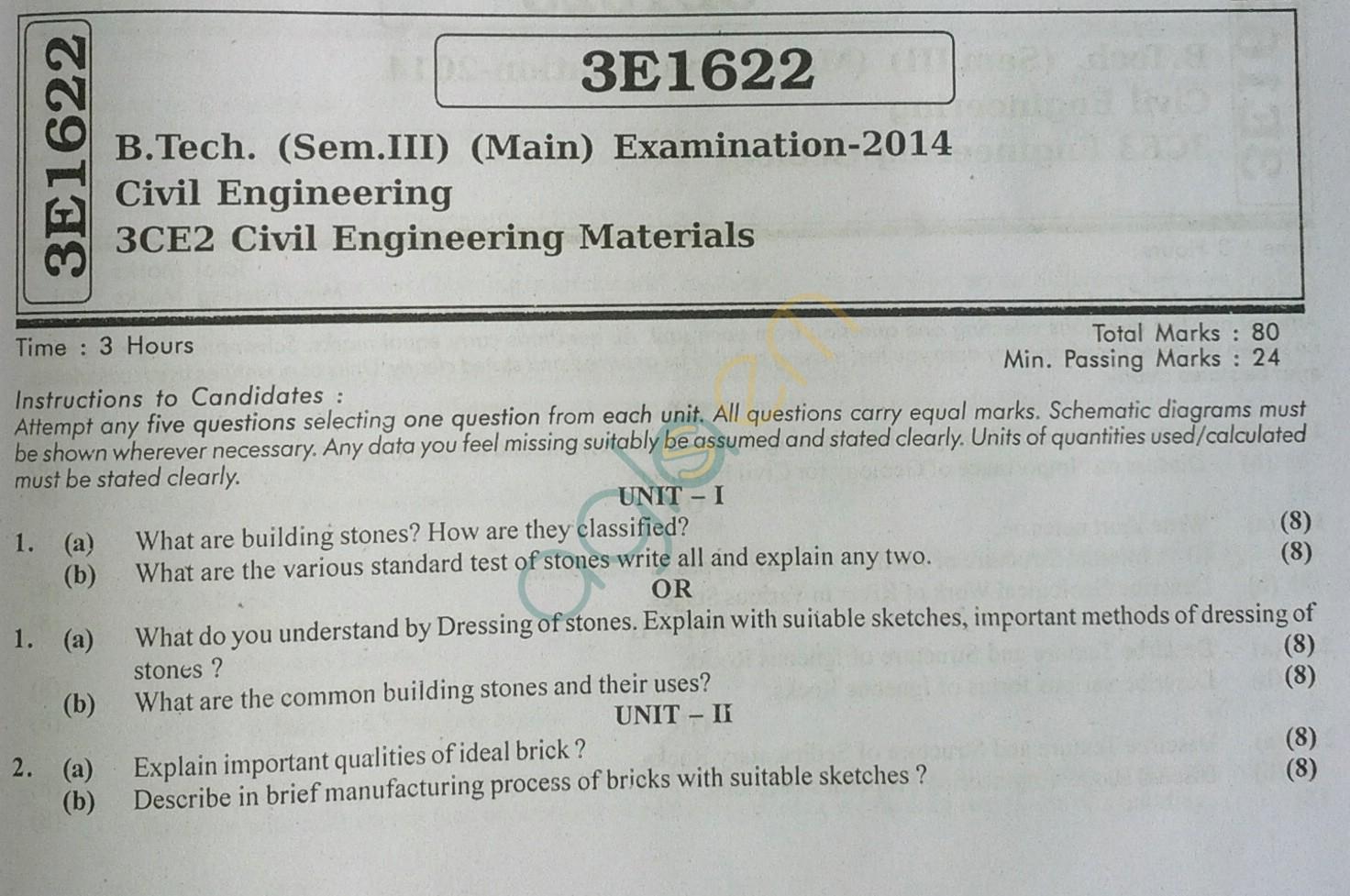 RTU: Question Papers 2014 - 3 Semester - CE - 3E1622