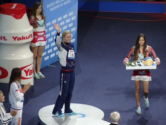 Jessica Hardy on the BCN2013 medal podium