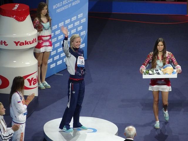 Jessica Hardy on the BCN2013 medal podium