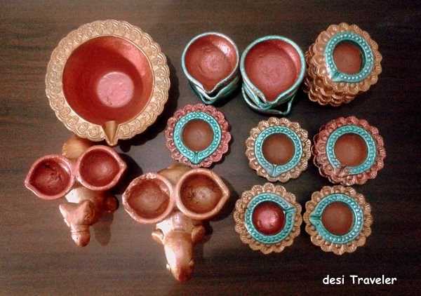 Hand painted Diyas for Diwali Earthen Lamps