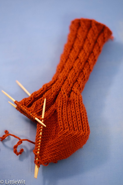 Rust Cable Twist socks - progress