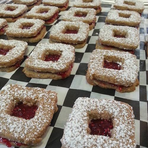 Break-fast hand picked homemade raspberry jam sorghum linzer tarts #glutenfreedelicious by The Cookie Man