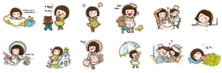 05_WeChat「蘑菇頭女孩Fatina」免費動態貼圖,讓你的人生充滿色彩!