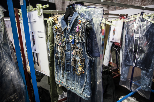Denim vest backstage at Diesel Fall Winter 2014