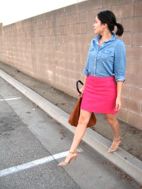 Gold Polka Dots - Chambray shirt and pink skirt 2