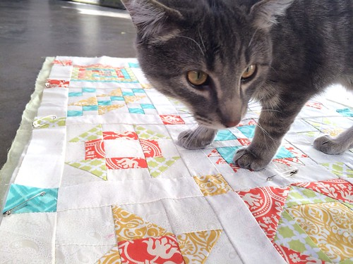 Hand Pieced Quilt Along Basted Marlow Helping