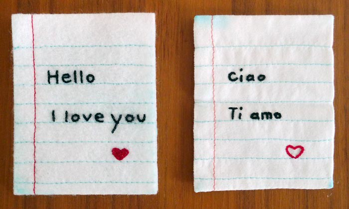 Fabric letters of love