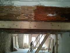 Cleaning and painting timber beams