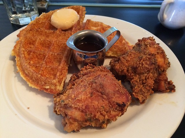 Buttermilk fried chicken and cornmeal waffle - Brown Sugar Kitchen